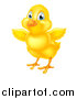 Vector Illustration of a Cute Yellow Easter Chick Facing Slightly Left and Flapping Its Wings by AtStockIllustration