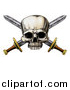 Vector Illustration of a Engraved Pirate Skull over Crossed Swords by AtStockIllustration