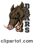 Vector Illustration of a Fierce Brown Boar Mascot Head with Text by AtStockIllustration