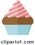 Vector Illustration of a Flat Design Chocolate Cupcake with Pink Frosting and a Blue Wrapper by AtStockIllustration