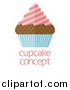 Vector Illustration of a Flat Design Chocolate Cupcake with Pink Frosting and a Blue Wrapper over Sample Text by AtStockIllustration