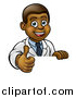 Vector Illustration of a Friendly Black Male Doctor Giving a Thumb up over a Sign by AtStockIllustration