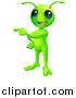 Vector Illustration of a Friendly Green Alien Pointing to the Right by AtStockIllustration