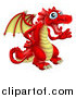 Vector Illustration of a Friendly Waving Red and Yellow Dragon by AtStockIllustration