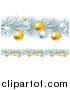 Vector Illustration of a Frozen Christmas Garlands with Silver and Gold Bauble Ornaments by AtStockIllustration