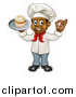 Vector Illustration of a Full Length Happy Black Male Chef Baker Gesturing Ok and Holding a Cupcake on a Tray by AtStockIllustration