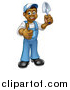 Vector Illustration of a Full Length Happy Black Male Gardener in Blue, Holding a Garden Trowel and Giving a Thumb up by AtStockIllustration