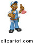 Vector Illustration of a Full Length Happy Black Male Plumber Holding a Plunger and Giving a Thumb up by AtStockIllustration