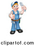 Vector Illustration of a Full Length White Male Plumber Holding an Adjustable Wrench and Giving a Thumb up by AtStockIllustration