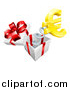 Vector Illustration of a Gift Box with a Gold Euro Currency Symbol Popping out on a Spring by AtStockIllustration