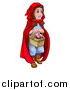 Vector Illustration of a Girl, Little Red Riding Hood, Holding a Basket by AtStockIllustration