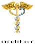 Vector Illustration of a Gold Medical Caduceus with DNA Snakes on a Winged Rod by AtStockIllustration