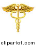 Vector Illustration of a Gold Medical Caduceus with Snakes on a Winged Rod by AtStockIllustration