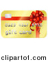 Vector Illustration of a Golden Gift Card with a Bow Design by AtStockIllustration