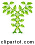 Vector Illustration of a Gradient Green Plant Forming a Dna Caduceus by AtStockIllustration