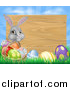 Vector Illustration of a Gray Easter Bunny Rabbit with Eggs and a Basket, in Front of Blank Wood Sign Against Sky by AtStockIllustration