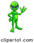 Vector Illustration of a Green Alien Waving or Presenting by AtStockIllustration