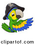 Vector Illustration of a Green Macaw Pirate Parrot Pointing Around a Sign by AtStockIllustration