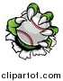 Vector Illustration of a Green Monster Claws Ripping Through Metal with a Baseball by AtStockIllustration