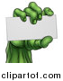 Vector Illustration of a Green Zombie Hand Holding a Blank Business Card by AtStockIllustration