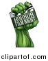 Vector Illustration of a Green Zombie Hand Holding a Horror Film Night Clapperboard by AtStockIllustration