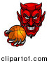 Vector Illustration of a Grinning Evil Red Devil Holding out a Basketball in a Clawed Hand by AtStockIllustration