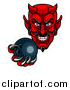 Vector Illustration of a Grinning Evil Red Devil Holding out a Bowling Ball in a Clawed Hand by AtStockIllustration