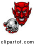 Vector Illustration of a Grinning Evil Red Devil Holding out a Soccer Ball in a Clawed Hand by AtStockIllustration