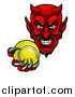 Vector Illustration of a Grinning Evil Red Devil Holding out a Tennis Ball in a Clawed Hand by AtStockIllustration
