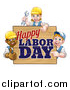 Vector Illustration of a Group of Workers Around a Happy Labor Day Sign by AtStockIllustration