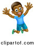 Vector Illustration of a Happy and Excited Black Boy Jumping by AtStockIllustration