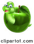 Vector Illustration of a Happy Bespectacled Worm Emerging from a Green Apple by AtStockIllustration