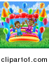 Vector Illustration of a Happy Black Boy and Girl Jumping on a Bouncy House Castle at a Party on a Sunny Day by AtStockIllustration