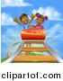 Vector Illustration of a Happy Black Boy and Girl on a Roller Coaster Ride, Against a Blue Sky with Clouds by AtStockIllustration
