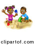 Vector Illustration of a Happy Black Boy and Girl Playing and Building a Sand Castle on a Beach by AtStockIllustration