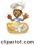 Vector Illustration of a Happy Black Boy Chef Making Star Cookies by AtStockIllustration