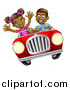 Vector Illustration of a Happy Black Boy Driving a Girl in a Red Convertible Car by AtStockIllustration