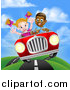 Vector Illustration of a Happy Black Boy Driving a Red Convertible Car and a White Girl Holding Her Arms up in the Passenger Seat As They Catch Air by AtStockIllustration