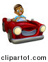 Vector Illustration of a Happy Black Boy Driving a Red Convertible Car by AtStockIllustration