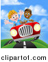 Vector Illustration of a Happy Black Boy Driving a White Boy and Catching Air in a Convertible Car by AtStockIllustration