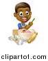 Vector Illustration of a Happy Black Boy Making Frosting and Cookies by AtStockIllustration
