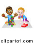 Vector Illustration of a Happy Black Boy Playing with Blocks and White Girl Playing with a Car by AtStockIllustration