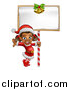 Vector Illustration of a Happy Black Female Christmas Elf Jumping by a Blank Sign by AtStockIllustration