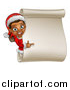 Vector Illustration of a Happy Black Female Christmas Elf Pointing Around a Blank Scroll Sign by AtStockIllustration