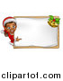 Vector Illustration of a Happy Black Female Christmas Elf Pointing Around a Blank Sign by AtStockIllustration