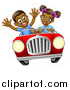 Vector Illustration of a Happy Black Girl Driving a Boy in a Red Convertible Car by AtStockIllustration