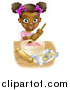 Vector Illustration of a Happy Black Girl Making Star Cookies and Frosting by AtStockIllustration