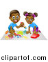 Vector Illustration of a Happy Black Girl Playing with a Toy Car and Boy Painting by AtStockIllustration