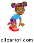 Vector Illustration of a Happy Black Girl Playing with a Toy Car by AtStockIllustration