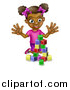 Vector Illustration of a Happy Black Girl Playing with Toy Blocks by AtStockIllustration